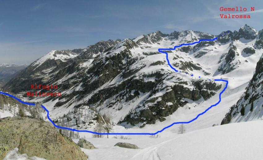 Gemello N Valrossa visto dal vallone sotto la cima di Vermeil