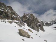 Il ghiacciaio allo stato attuale con il couloir della normale sulla sx ed il Baretti sullo sfondo