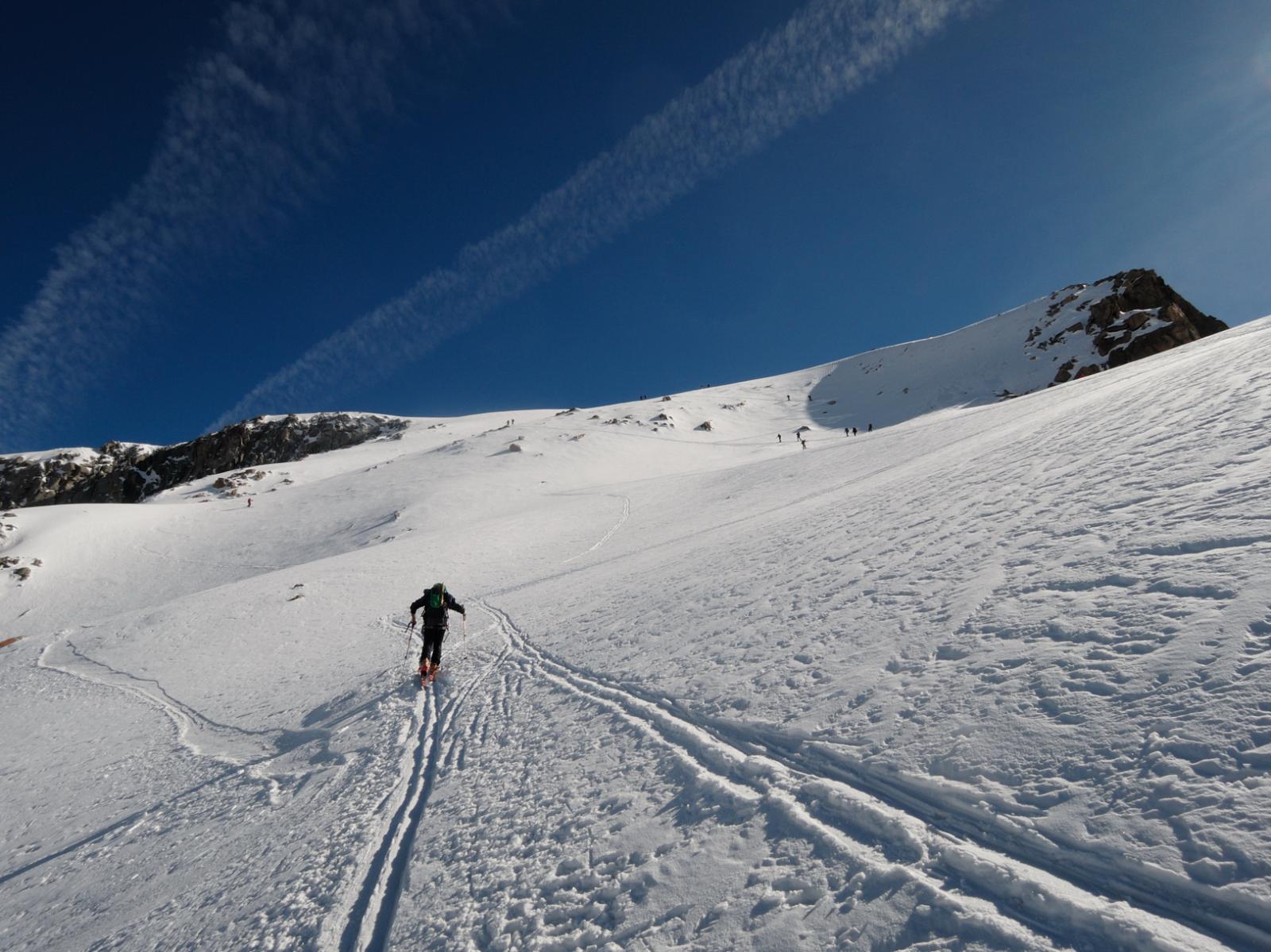 Salendo sul Galengletscher verso la cresta finale