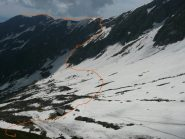 Avvicinamento: Discesa e traverso per Alpe Fornà Sup.