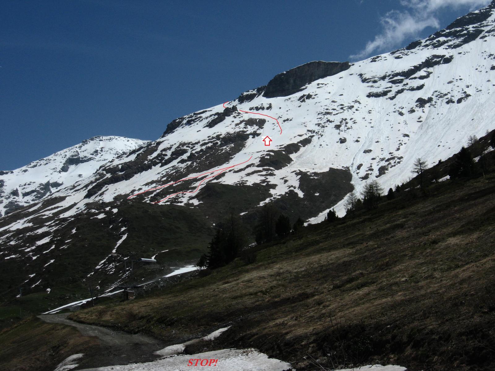 La traccia e la neve che ci ha stoppato