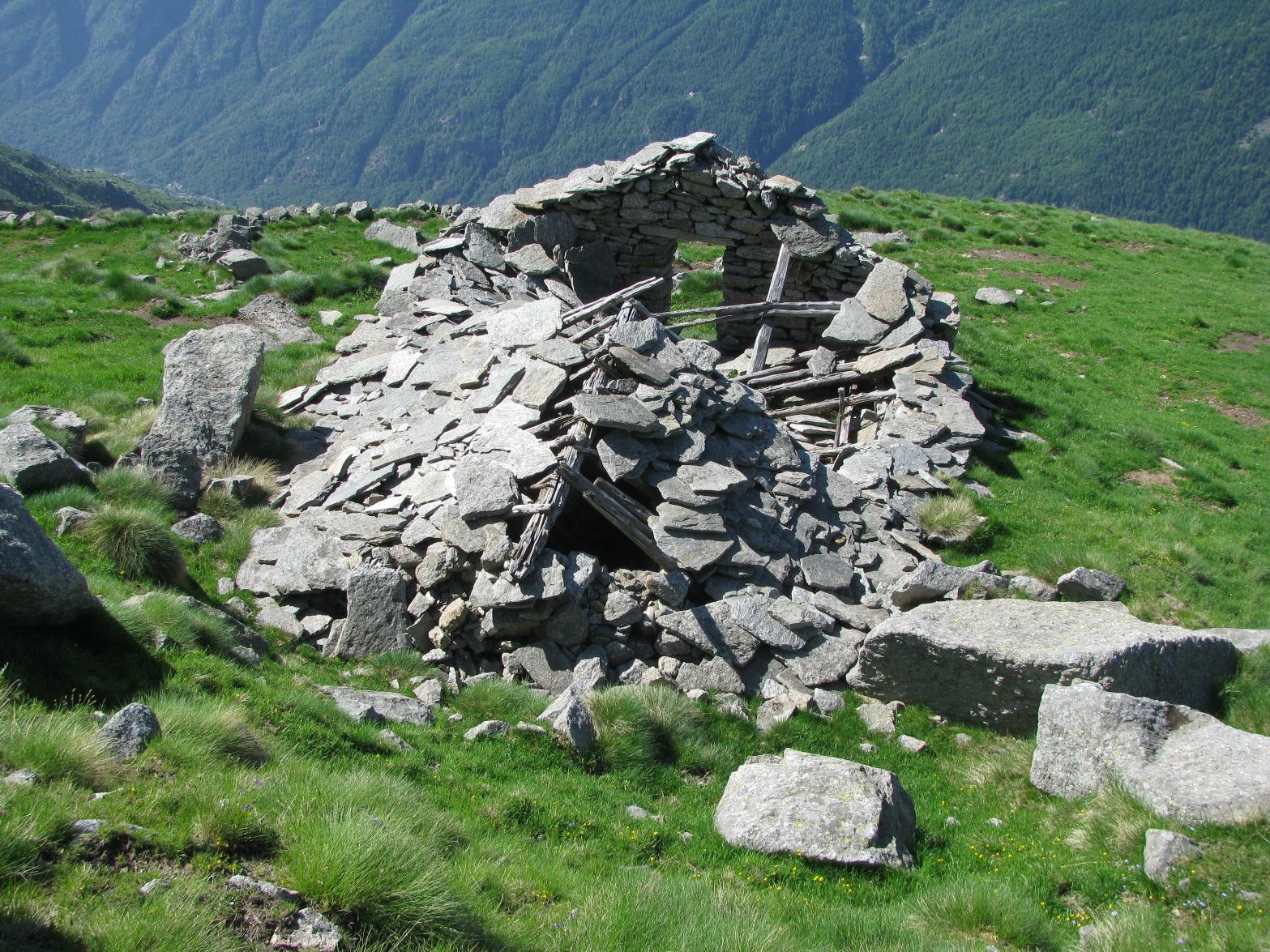 I resti della baita dell'Alpe Pianpurcetto