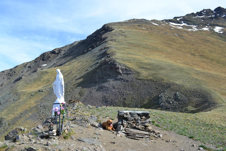 in cima alla Tsaplana (2659 m). Sullo sfondo la Punta di Arpisson