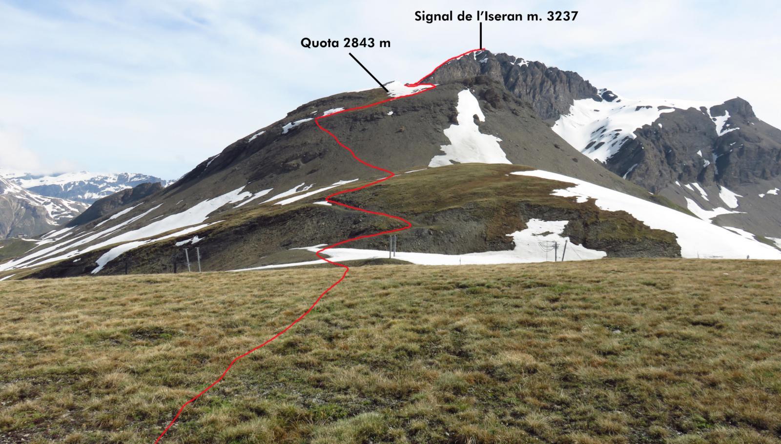 tracciato della via di salita visto dalla parte iniziale della dorsale SO della nostra montagna
