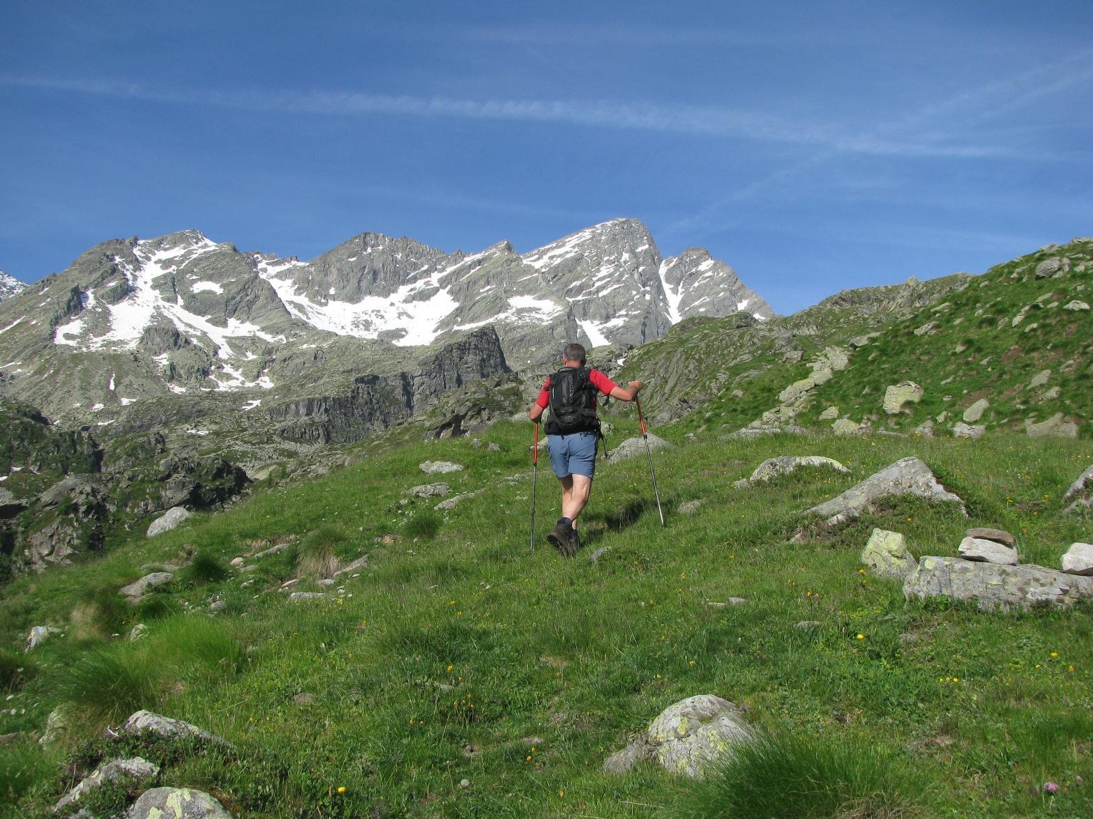 Salendo all'Alpe Gran Fumà, con l'imponente Gialin