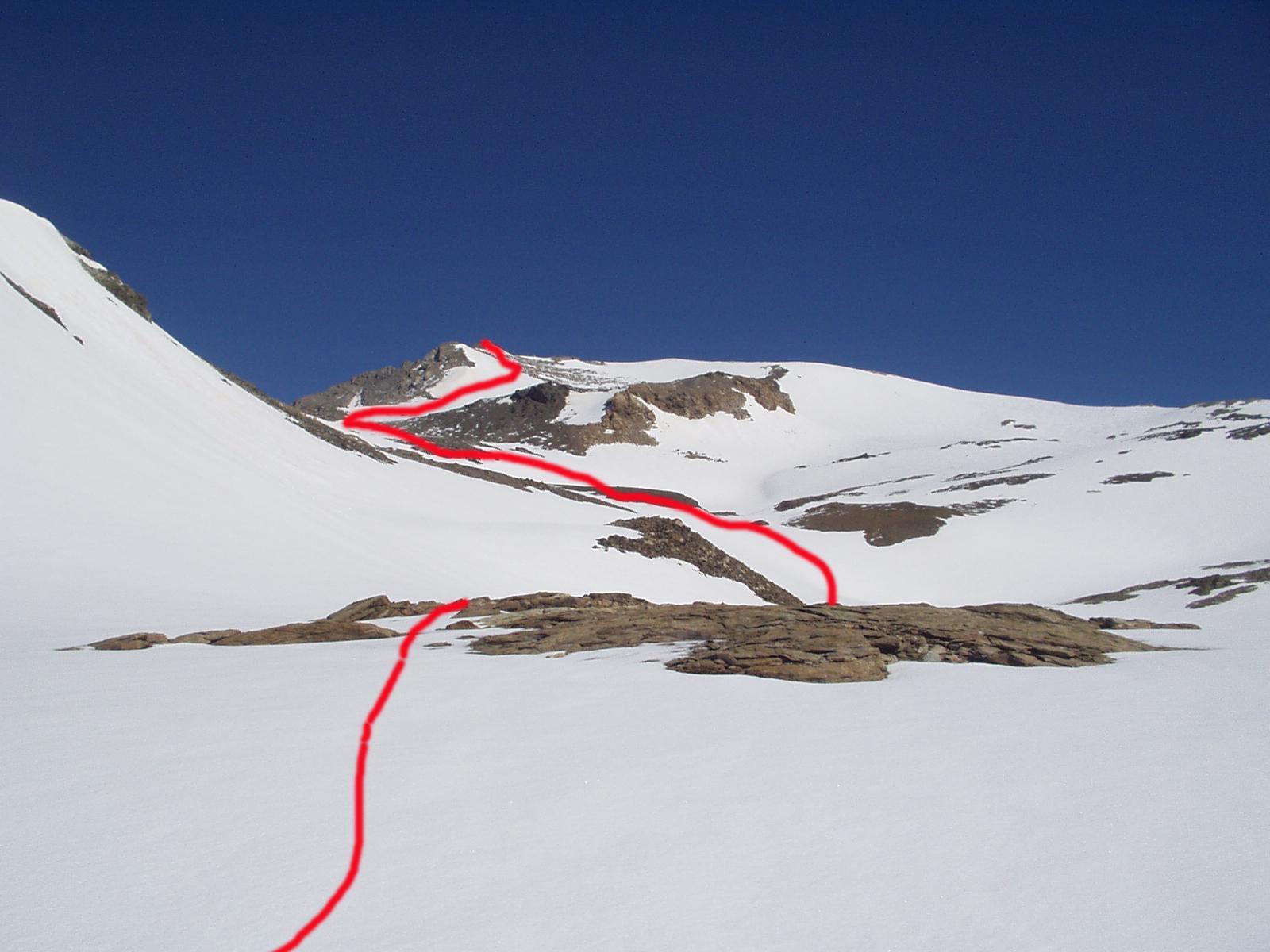 La cima e il percorso seguito dalla base dei pendii della dorsale Sud, poco dopo il bivacco Sigot.