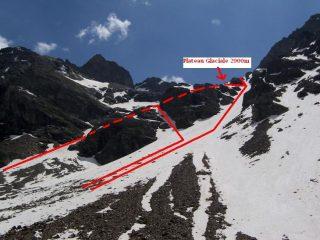 I canali che si possono salire dopo il bivacco per raggiungere il Plateau Glaciale a 2900m