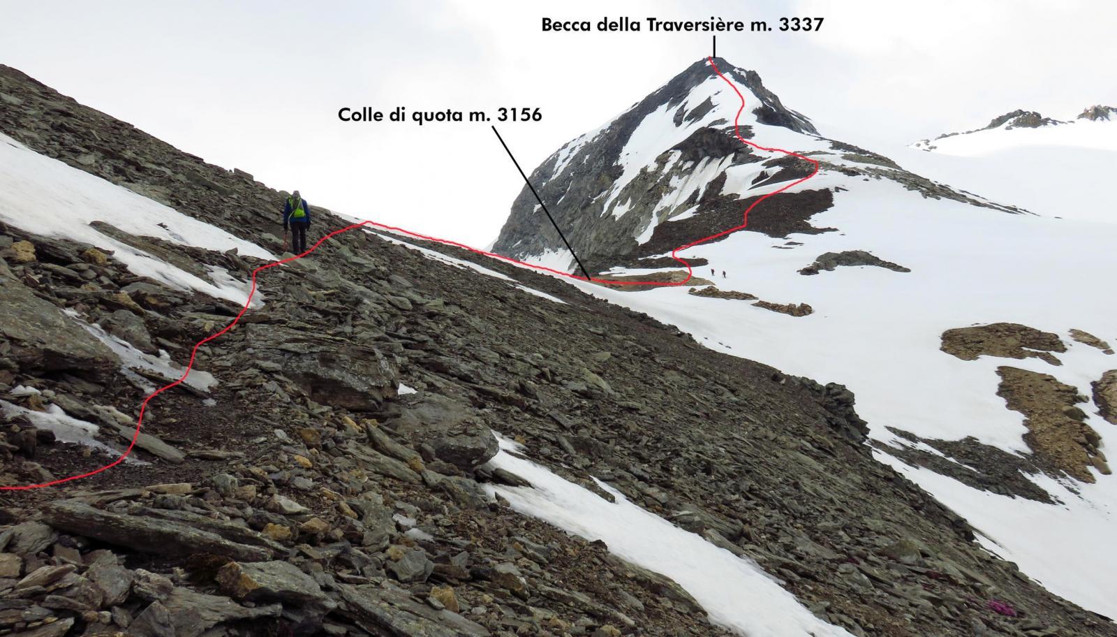 il tracciato della via di salita per la cresta Nord