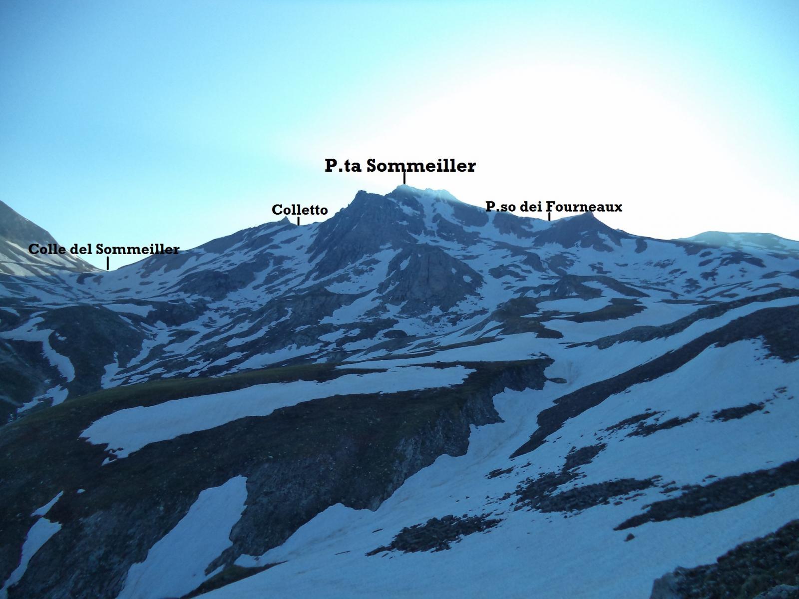 dal pianoro a 2800m tra il colle del sommeiller e la punta il colletto che dà accesso al ghiacciaio