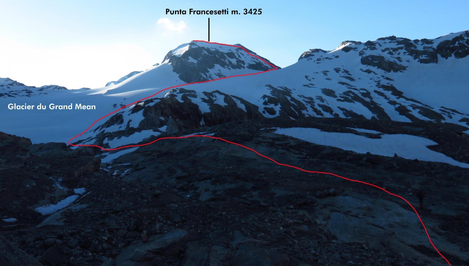 la via di salita per la Punta Francesetti vista dal tratto iniziale del Glacier du Grand Mean