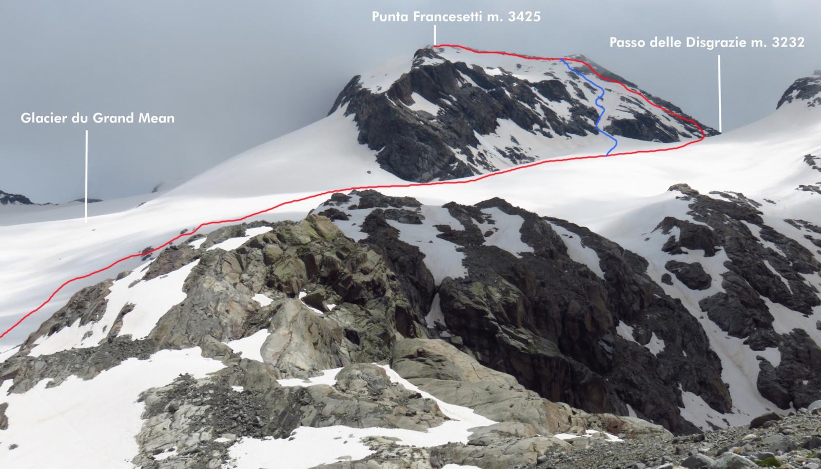 parte alta della via di salita, il tracciato in blu è una possibile alternativa