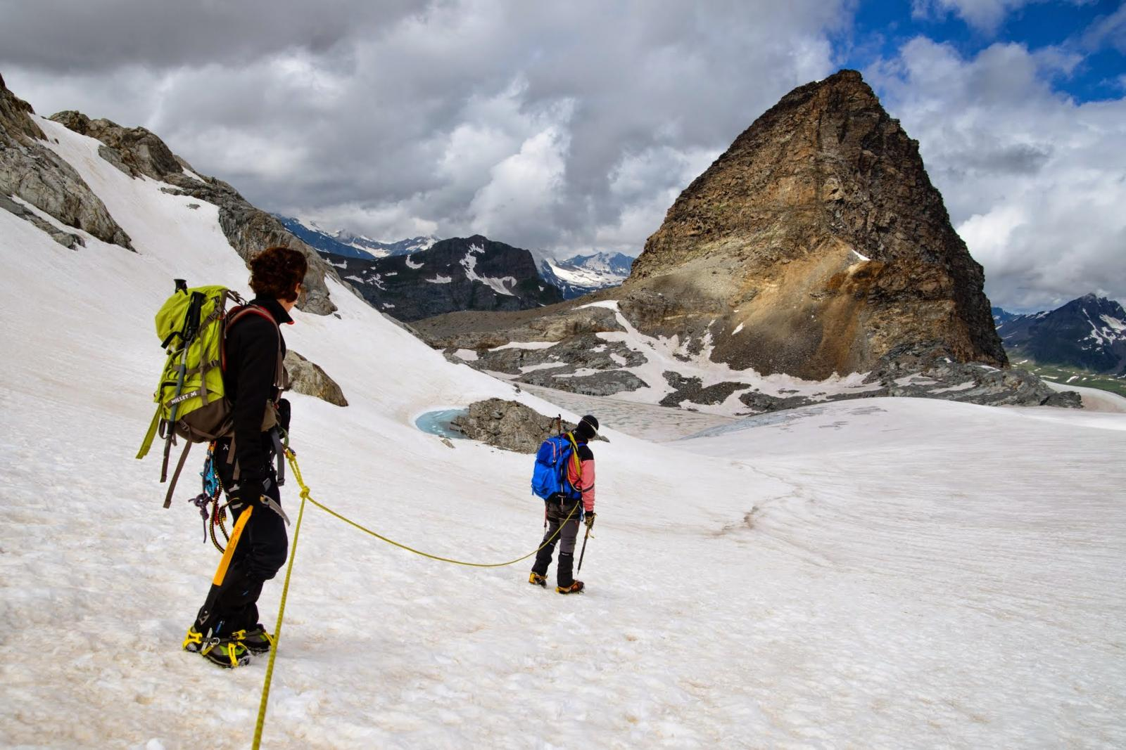 in discesa sul Glacier du Grand Mean