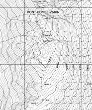 Combe Varin, carta CTR. Seguendo le curve di livello si notano chiare le due sommità (Fonte: http://geonavsct.partout.it/pub/geonavsct/index.html)