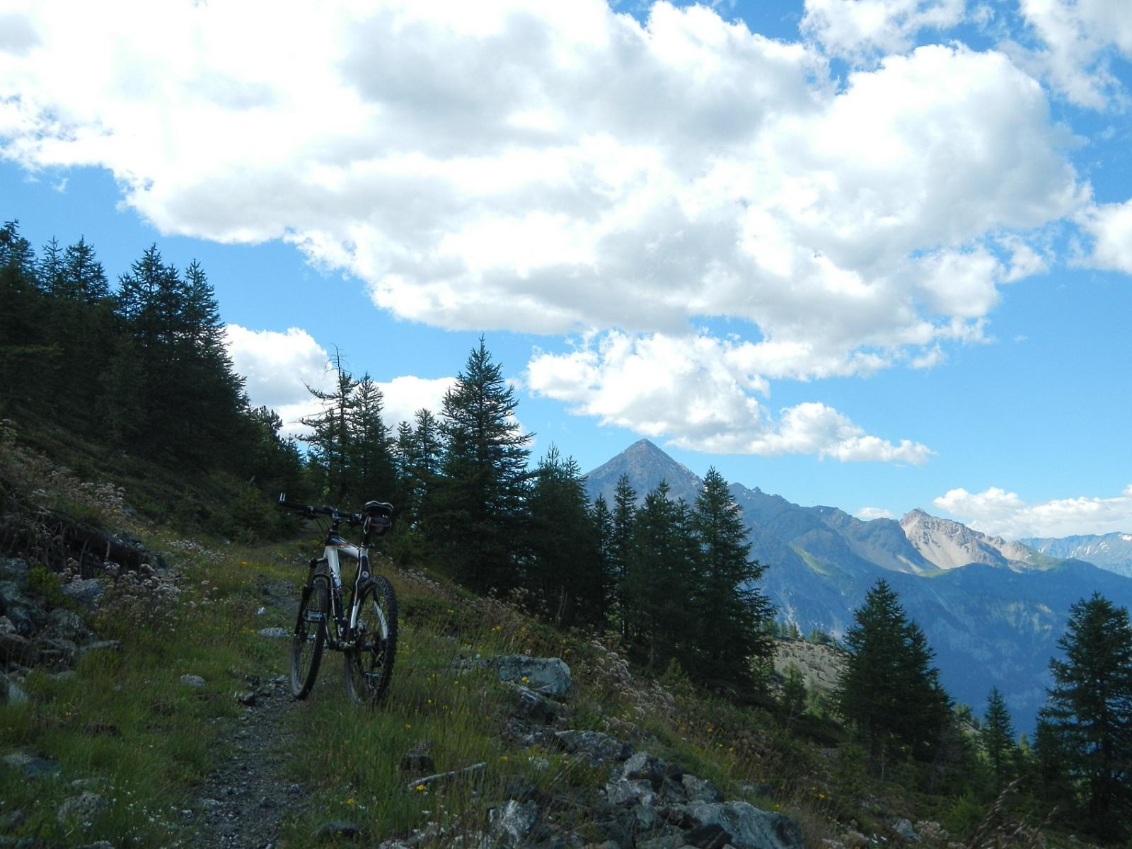 inizio del sentiero ben ciclabile; sullo sfondo il Monte Chaberton