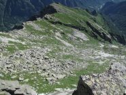 Dalla vetta vista sull'alta Comba di Tolair, versante di salita