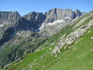 Dalla cresta di salita , vista sul Lago Lasin, meta di discesa