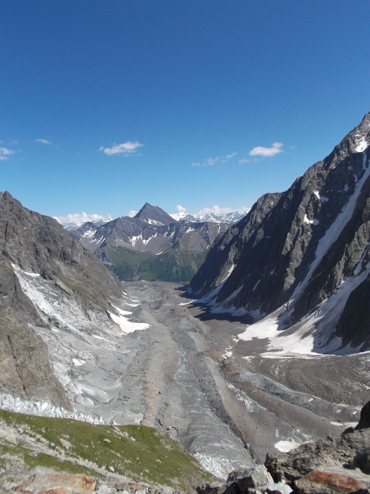 il ghiacciaio del Miage visto da Chaux de Pesse