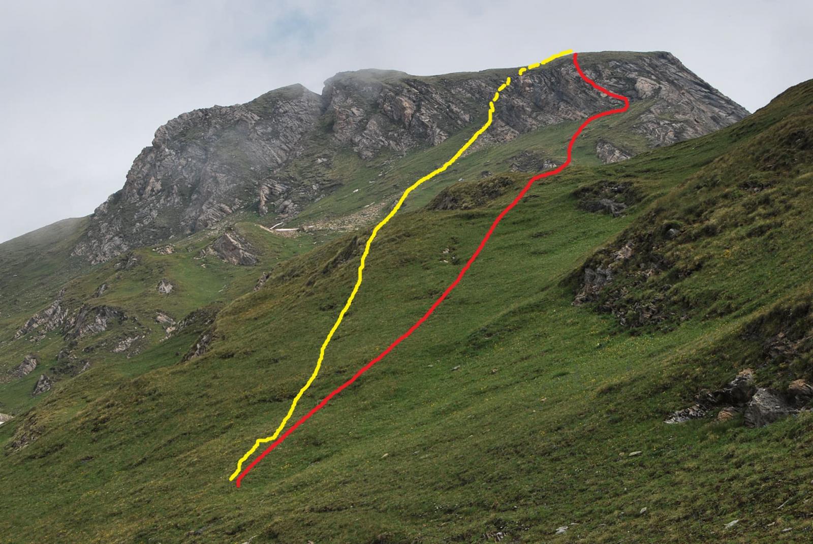 La via di salita (rosso) e discesa (giallo): a Frank non sono piaciute entrambe