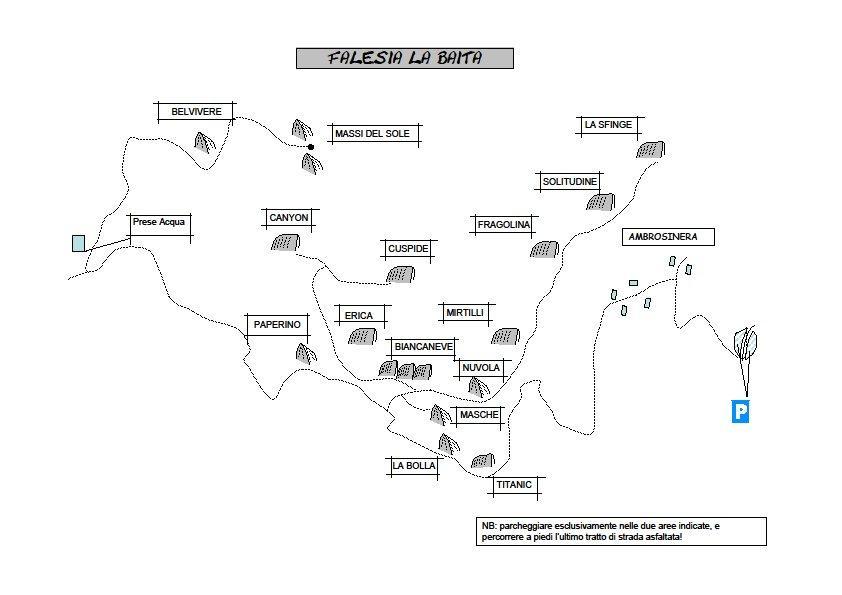 Mappa dei settori Luglio 2014 (http://www.x3mmountainguides.com/baita.htm)