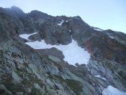 due tiri per raggiungere la cengia bianca su roccia, senza picca e ramponi