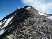 La cresta vista dal Colle. La cima è il dentino in alto a sx