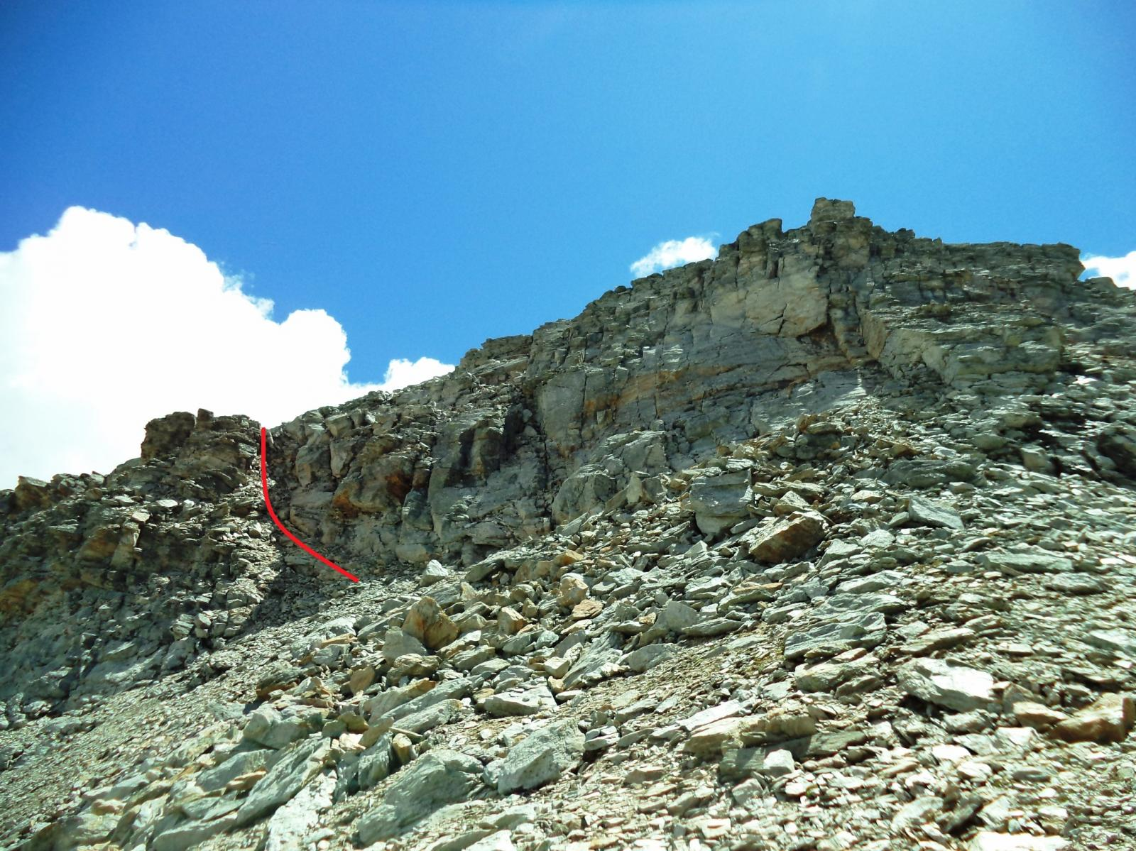 in rosso il canalino che permette di raggiungere il colle nord dalla p.ta dell'agnello