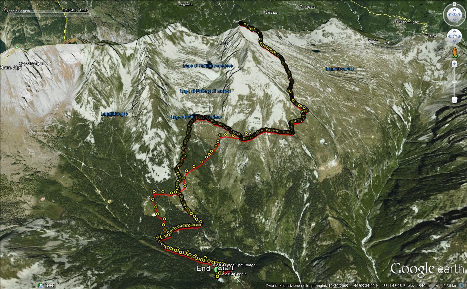 l'itinerario su Google Earth