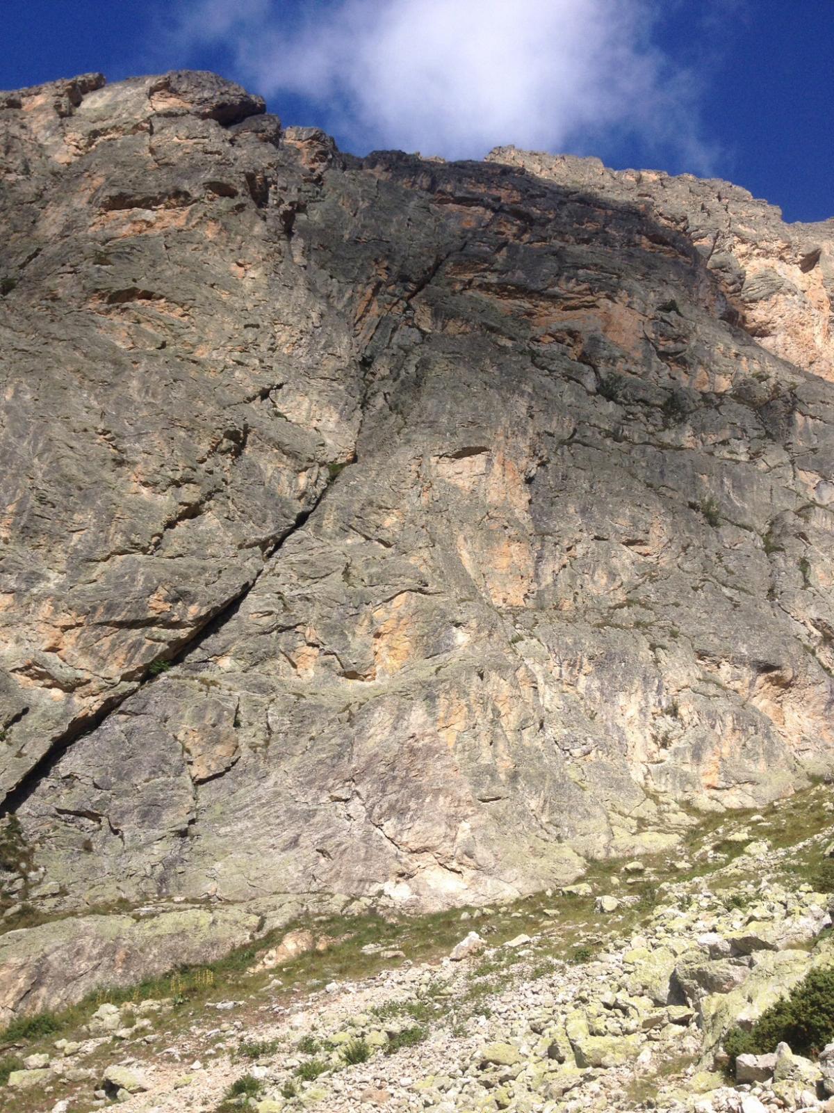 La parete dove attacca la via