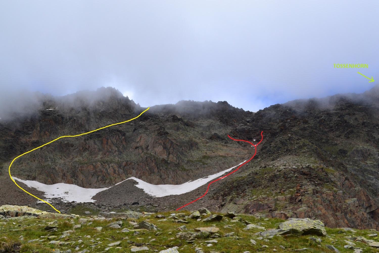 la traccia in rosso indica i due tentativi fatti per salire in cresta, quella in giallo il probabile percorso corretto di accesso al colle