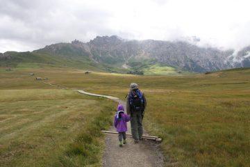 Nei pressi dell'arrivo della seggiovia Panorama con la cresta di Terrarossa sullo sfondo