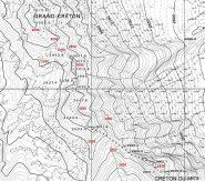 Sulla carta CTR il profilo altimetrico della cresta tra Gran Creton e Creton du Midi (fonte www.geonavsct.partout.it)