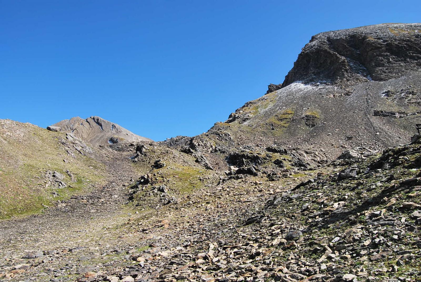 La parte più alta del vallone, ormai selvaggia, con vista Gran Creton