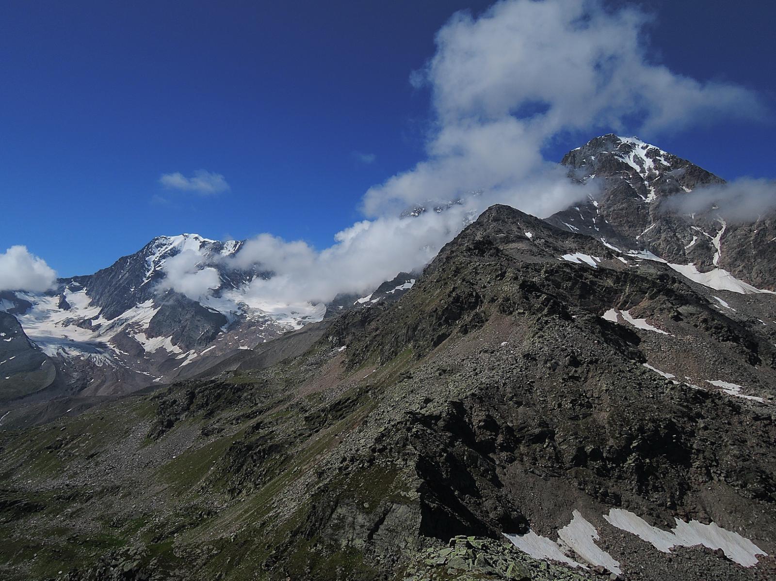 Weissmies e Fletschhorn visti dalla cima