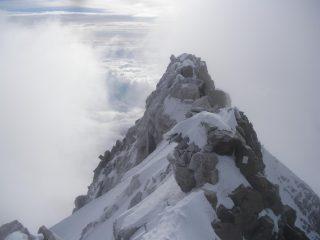 la cresta della normale dalla Gniffetti..vista dalla vetta..