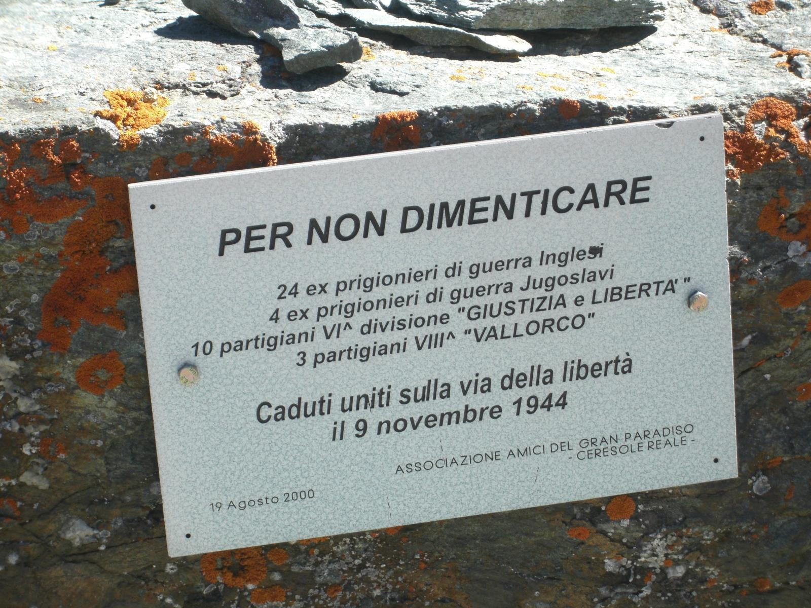 Lapide al Colle Galisia a ricordo dei tragici eventi del novembre 1944