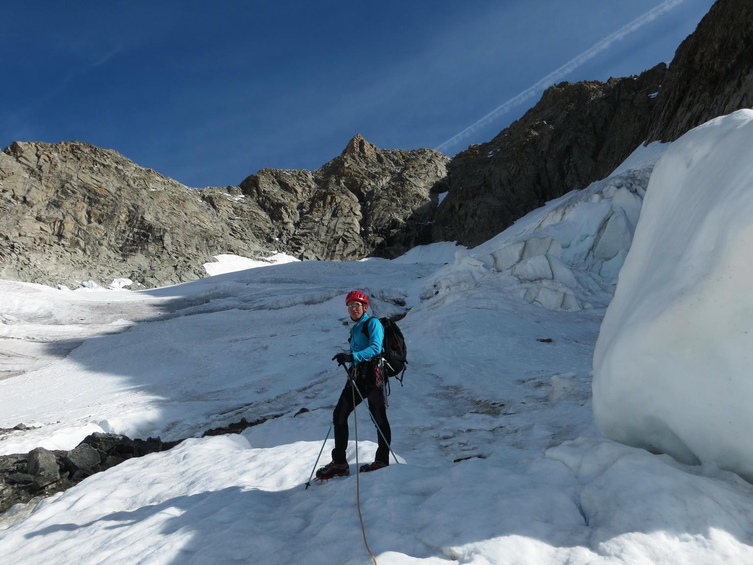 Il ripido ghiacciaio che conduce alla parte alta dell'itinerario