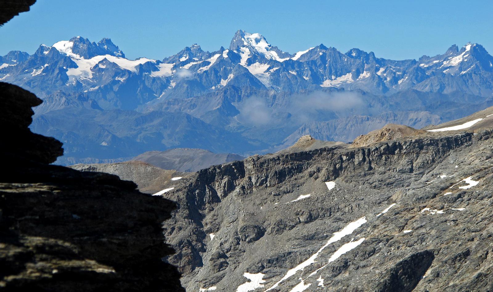Panorama verso gli Ecrins,al centro la Barre