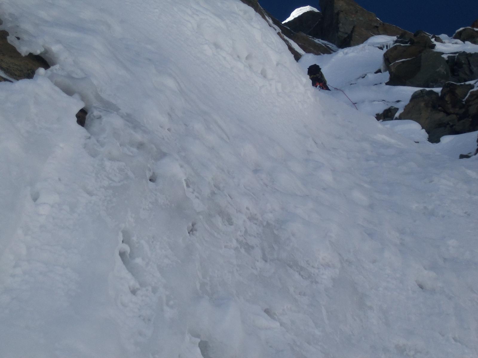 primo tiro, qui  con neve un po' inconsistente