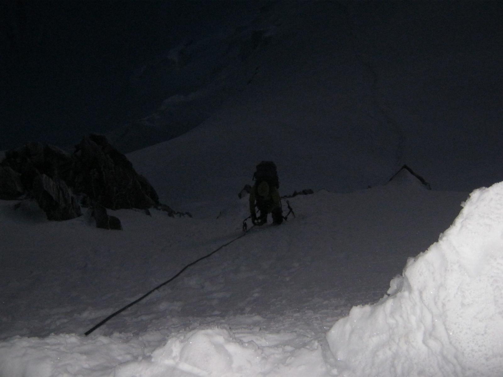 In uscita dal colle del Mont Maudit