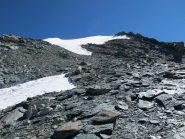 La cresta O con l'ultima parte in neve