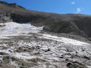 Sul ghiacciaio, verso la traccia di salita sullo spallone detritico