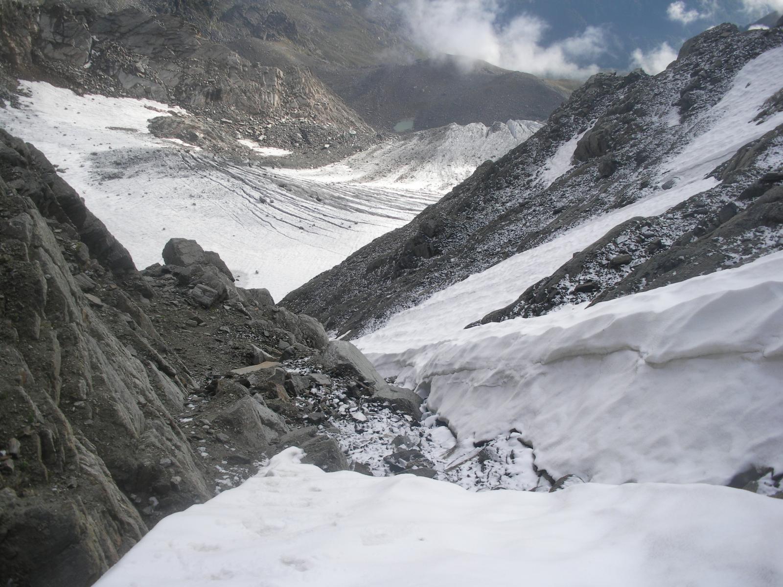 il ghiacciaio del Mulinet, e lo scivolo al Passo di S.Stefano..