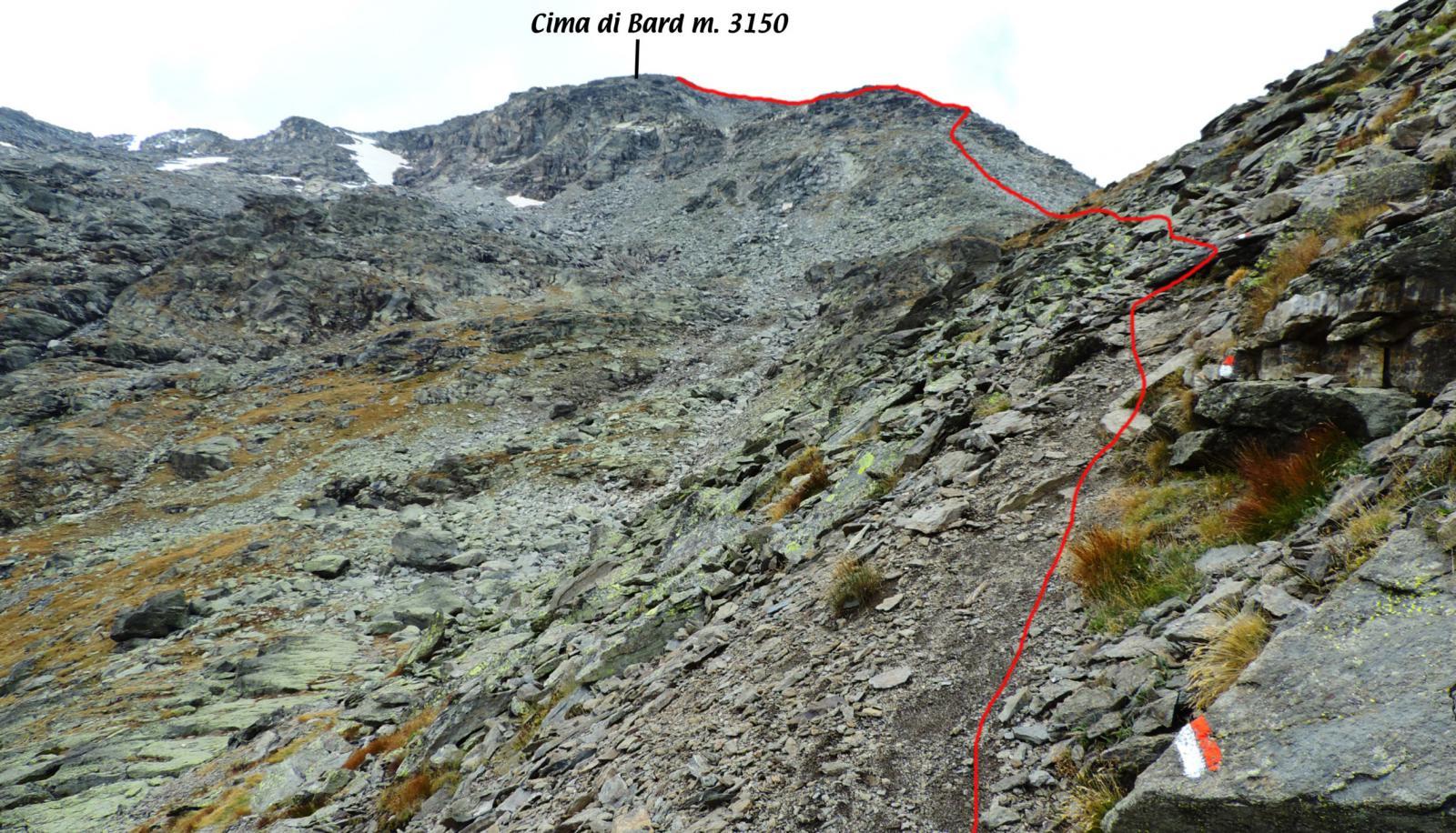 il tracciato della via di salita da quota 2700 m. (da pochi metri sopra il Bivacco Vacca)