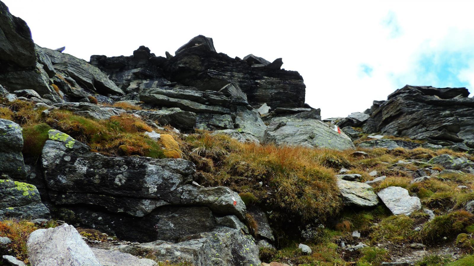 un tratto ripido della cresta Est tra roccioni e salti di roccia