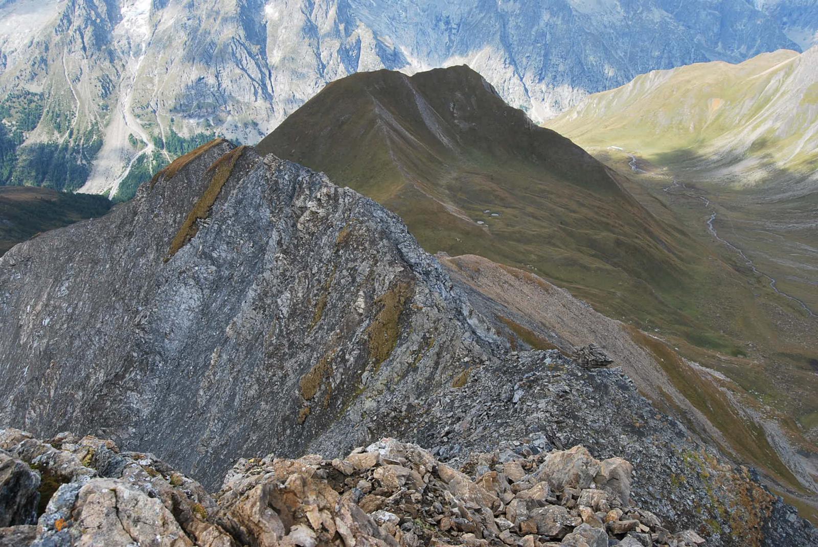 Dalla vetta: la cresta che scende alla Tete entre deux Sauts (in fondo); in primo piano la Testa di Secheron, a destra il Vallone di Malatra