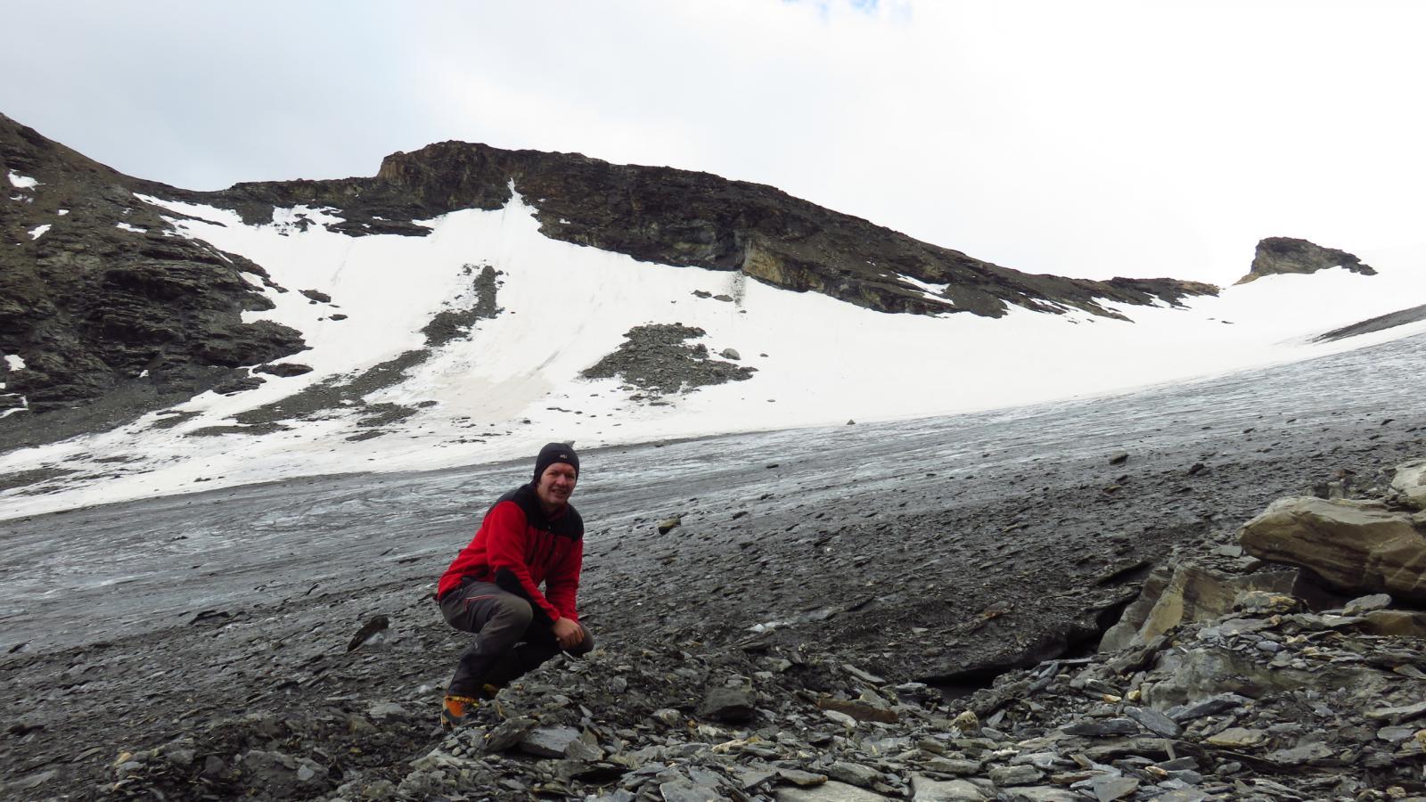 all'inizio del Glacier de Roches con la punta dietro