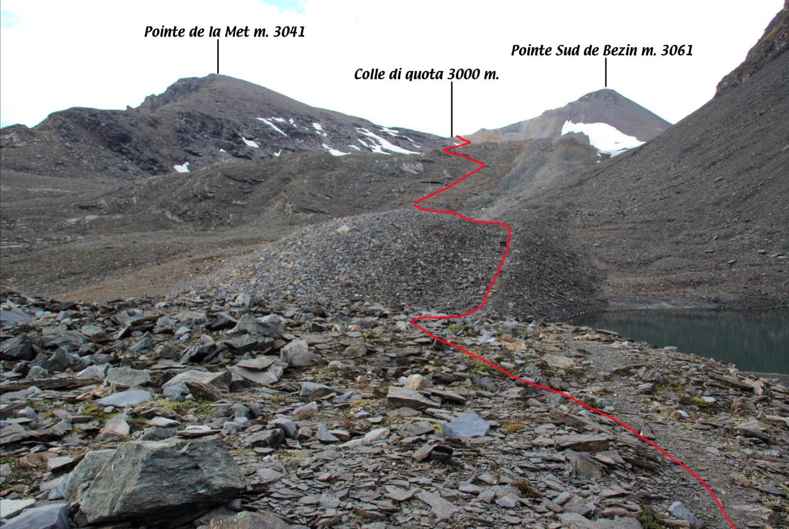 tratto che sale verso il colle di quota 3000 m visto dai pressi del Laghetto du Fond