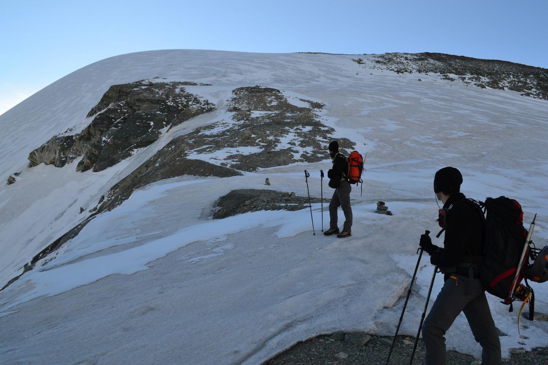 prima parte del pendio nevoso/glaciale da risalire