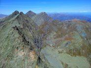5. Cresta che va da Punta Roma a Punta Udine. Punta Venezia, Rocce Fourion e Granero al centro. Sullo sfondo a destra il Rosa