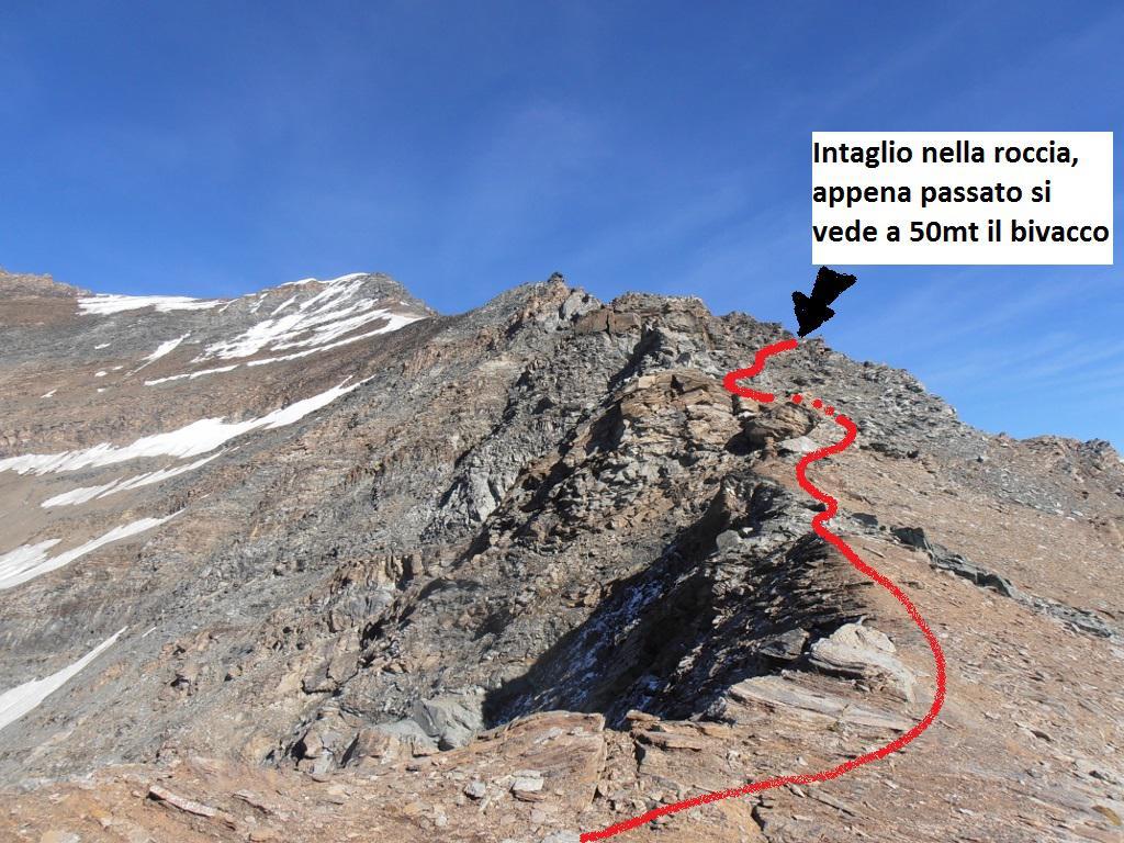 06 - la cresta per arrivare al Bivacco, la Punta Bianca sullo sfondo